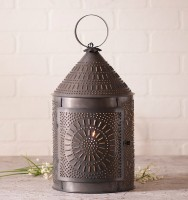 Fireside Punched Tin Electric Lantern - Rustic Farmhouse Accent Light