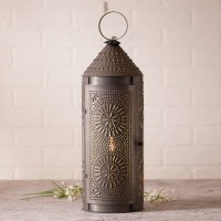 """22"""" Punched Tin Chimney Lantern - Rustic Farmhouse Accent Light"""