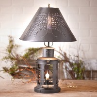 Rustic Tinner's Revere Punched Tin Table Lamp - Primitive Country Home Lighting