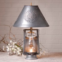 Rustic Farmhouse Punched Tin Hurricane Table Lamp - Antique Inspired Lighting