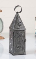 Steeple Lantern - Punched Tin Rustic Farmhouse Taper Holder