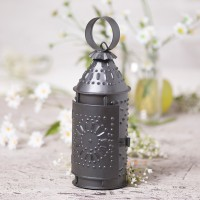 "Farmhouse Punched Tin Revere Lantern 9"" Taper Candle Holder - Smokey Black"