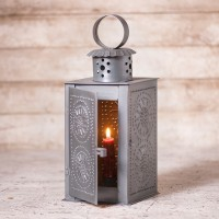 Punched Tin Square Candle Lantern