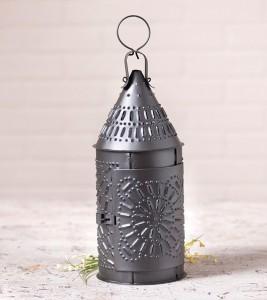 Punched Tin Primitive Candle Lantern - Smokey Black - Farmhouse Candle Holder