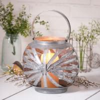 Round Galvanized Tin Candle Lantern Holder