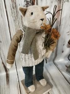 Handmade Repurposed Autumn Kitty Home Decor Accent