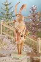 Folk Art Spring Bunny Statue
