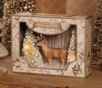 Vintage Inspired Winter Woodland Shadowbox Home Decor Accent