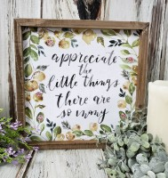 Little Things Flower Farmhouse Style Inset Box Sign