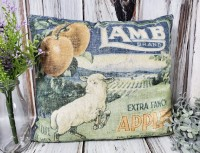 Lamb Apples Vintage Advertising Inspired Pillow - Antique Farmhouse
