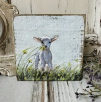 Lamb in Field Farmhouse Box Sign