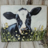 Cow in Meadow Large Wooden Box Sign