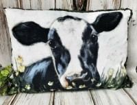 Cow in Flowers Home Decor Pillow Farmhouse Home Decor