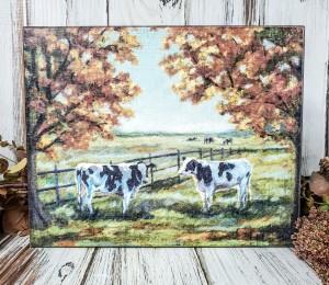 Fall Cow Field Box Sign