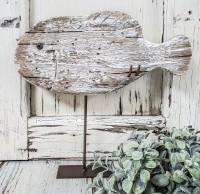 Rustic Fish Sitter Wooden Home Decoration - Cabin, Lake, Beach House Decor