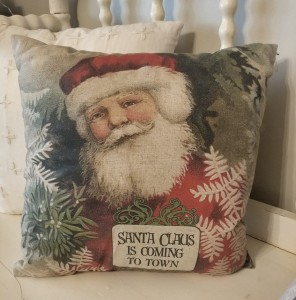 Vintage Inspired Santa Home Decor Christmas / Holiday Accent Pillow