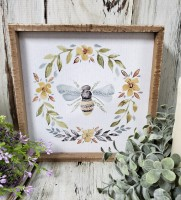Bee & Flower Inset Box Sign