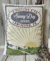 Sunny Days Farm Seed Advertising Home Decor Pillow - Vintage Farmhouse Style