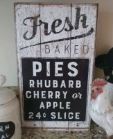 Rustic Farmhouse Large Fresh Baked Pies Vintage Inspired Kitchen Box sign