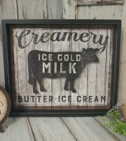 Rustic Farmhouse Large Creamery Cow Reverse Kitchen Box sign