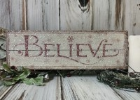 Believe Christmas Slat Box Sign - Winter Farmhouse Home Decor