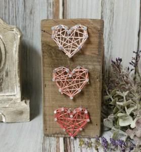 Triple Heart Valentines Day String Art Rustic Farmhouse / Boho Box Sign