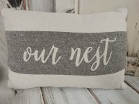 Our Nest Farmhouse Canvas Home Accent Pillow