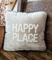 Happy Place Velour Accent Pillow