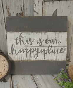 Happy Place Rustic Cottage / Farmhouse Slat Wooden Box Sign