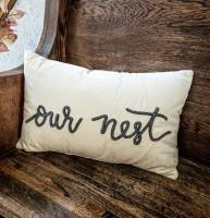 Our Nest Velour Farmhouse Accent Pillow