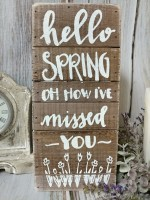 Spring Missed You Wooden Slat Box Sign