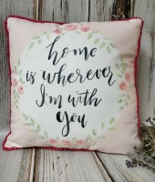 With You Pink Blush Floral Watercolor Home Decor Pillow - Farmhouse Valentines