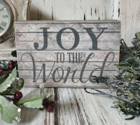 Joy to the World Holiday Message Block Sign - Farmhouse Home Decor
