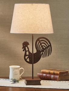 Industrial Farmhouse Metal Rooster Table Lamp