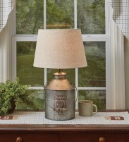 Rustic Farmhouse Milk Can Table Lamp with Shade