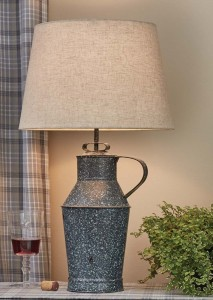 Granite Enamelware Milk Can Table Lamp with Shade