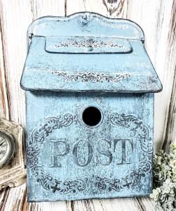 Rustic Blue Metal Post Box