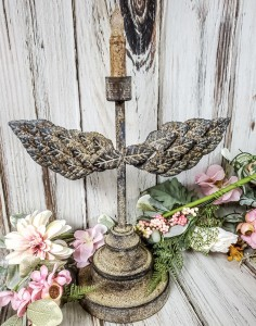 Angel Wing Taper Candle Holder...Rustic Vintage Farmhouse Style Decor
