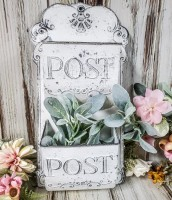 Double Slot White Metal Decorative Post Box - Vintage Farmhouse Style Home Decor