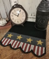 Primitive Rustic Patriotic Americana Wool Blend Table Runner