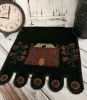 Primitive Red House and Fruit Tree Folk Penny Table Runner