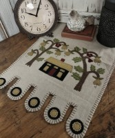 Folk Art House and Tree Wool Blend Table Runner - Primitive Rustic Home Decor