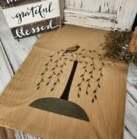 Primitive Autumn Black Cat and Pumpkin Penny Table Runner