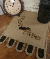 Primitive Rustic Bird with Bittersweet Branch Penny Table Runner