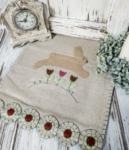 Rustic Spring Bunny Wool Penny Table Runner