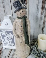 Vintage Inspired Rustic Tall Snowman- Antique Winter Farmhouse Style Figure