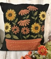 Wool Applique Autumn Flowers Home Decor Accent Pillow