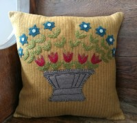 Wool Applique Primitive Flower Basket Home Accent Pillow
