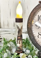Vintage Inspired Primitive Brown Hare Battery Flameless Timer Taper Candle.