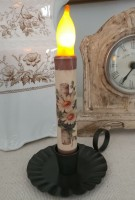 Rustic Birch and Daisy Flameless Timer Taper Candle